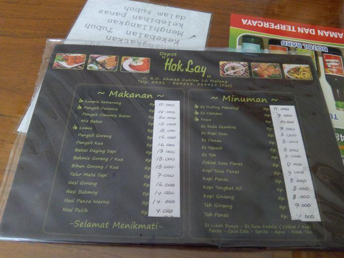 Harga menu di Hok Lay, susu coklat, Fosco